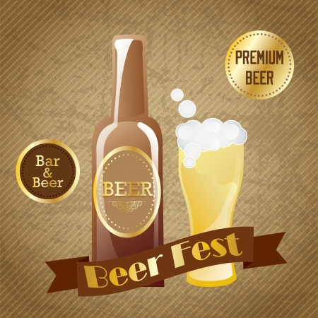 Beer festival, label, on vintage background. Vector Illustration Stock Vector - 17868473