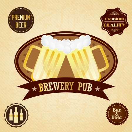 Brewery pub ( Beer labels). On vintage Background Vector