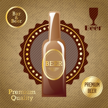 Beer Labels with Bottle of beer. On vintage background Stock Vector - 17868469