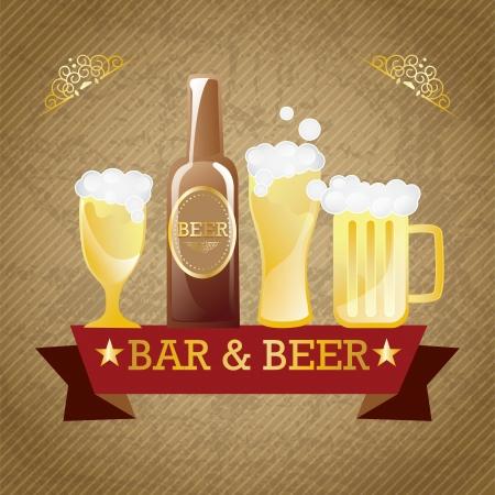 Bar & beer elements. On vintage background. Vector  Vector
