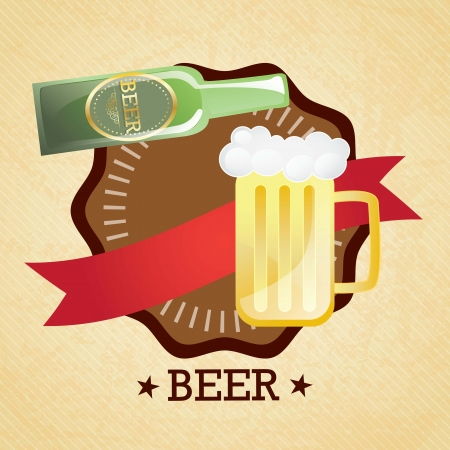 Beer Labels (bottle and glass) on retro background. Vector Illustration Vector