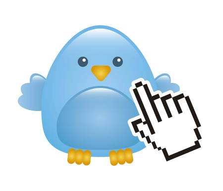 blue bird with cursor hand isolated. vector illustration Vector