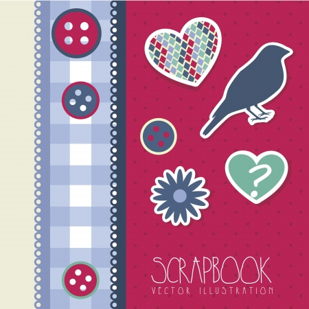 cute scrapbook with bird and hearts. vector illustration Stock Vector - 17868867