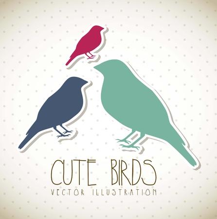 cute birds over beige background, vintage. vector illustration Stock Vector - 17868830