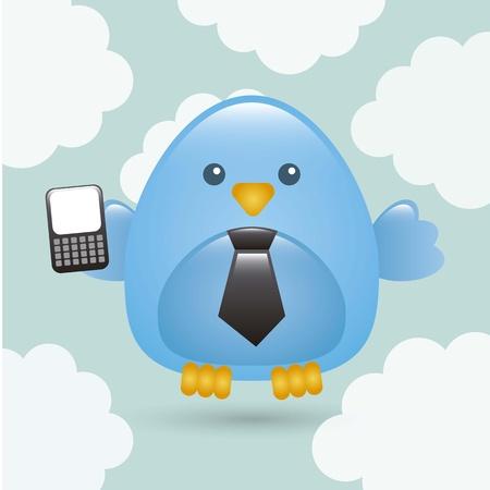 blue bird: business bird over sky background. vector illustration