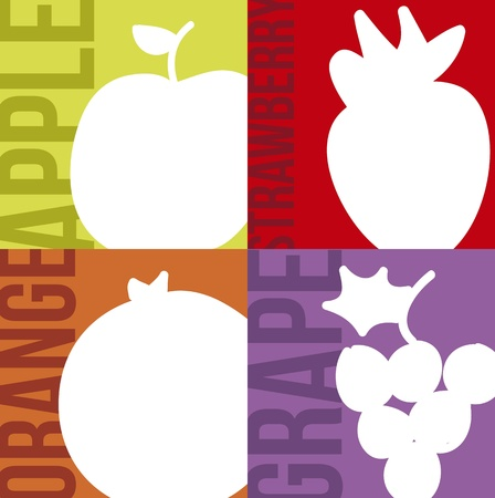 fruits drawing over colorful squrares. vector illustration Stock Vector - 17868510