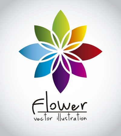 abstract flowers: colorful flower over graybackground. vector illustration Illustration