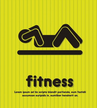 silhouette man over green background, fitness. vector illustration Vector