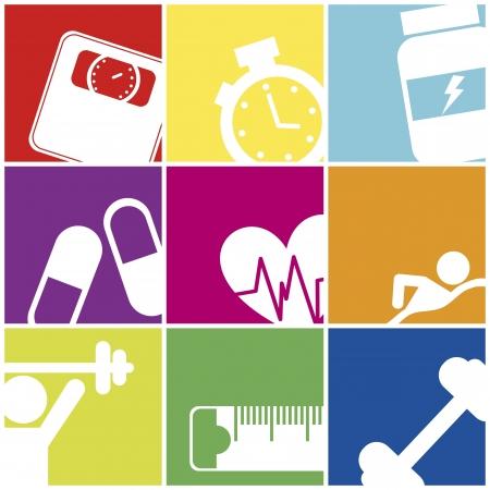 fitness iconen over kleurrijke pleinen. vectorillustratie