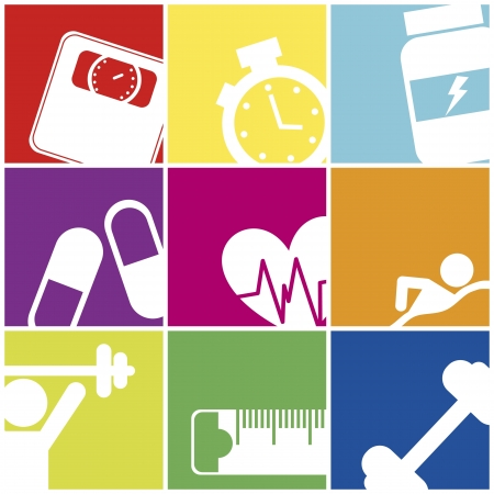 fat loss: fitness icons over colorful squares. vector illustration