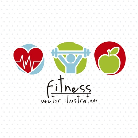 fitness drawing over white background. vector illustration