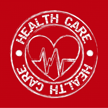 heath care seal with hearth over red background. vector illustration Vector