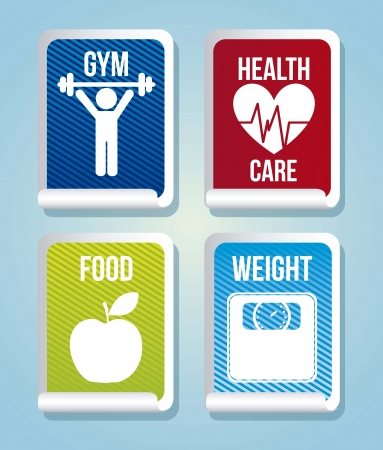 fitness labels over blue bacgkround. vector illustration Stock Vector - 17868533