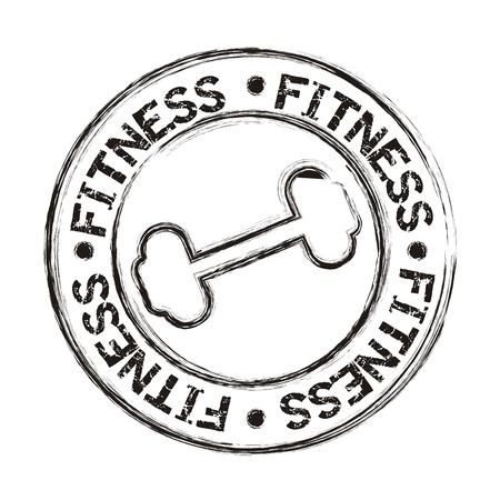 weight training: dumbbells icons seal isolated, grunge. vector illustration Illustration