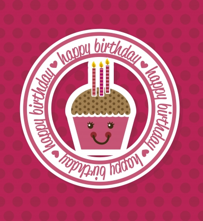 happy birthday card with cup cake. vector illustration