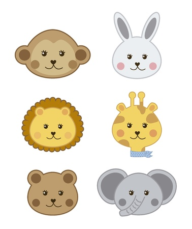 faces baby animals isolated over white background. vector illustration Vector