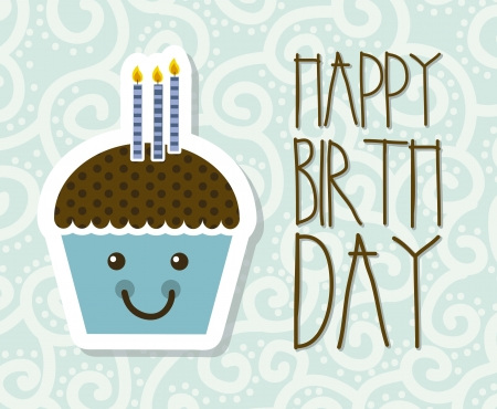 feliz cumplea�os caricatura: tarjeta de cumplea�os feliz con la torta de la taza. ilustraci�n vectorial Vectores