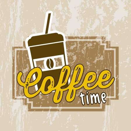 coffe: coffee cup illustration over brown background. vector Illustration