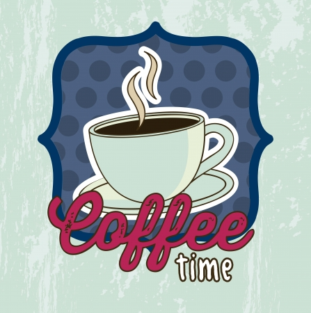 coffee cup illustration over grunge background. vector Vector