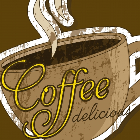 coffee cup illustration over brown background. vector Vector