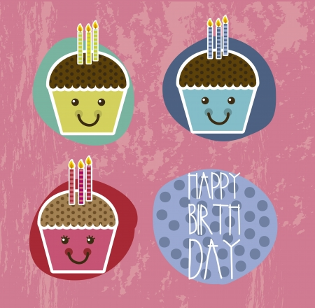 happy birthday card with cup cakes. vector illustration Vector