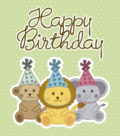 happy birthday card with cute animals . vector illustration Vector