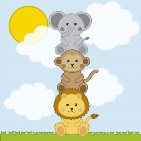 baby cartoon: baby animals over landscape with clouds . vector illustration