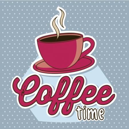 café taza de ilustración sobre fondo azul. vector Ilustración de vector