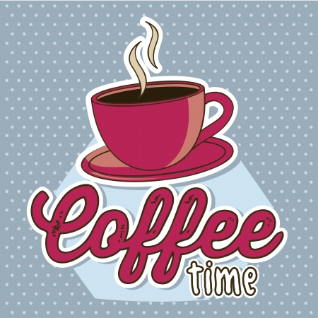 coffee time: coffee cup illustration over blue background. vector Illustration