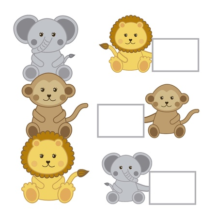 baby animals with announcements isolated . vector illustration Vector
