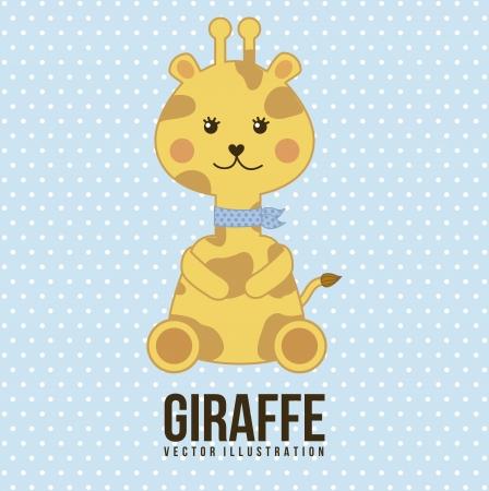 blue clip: baby giraffe over blue background. vector illustration