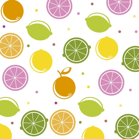 citrus icons over white background, pattern. vector illustration Vector