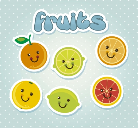 cute citrus icons cartoons with face. vector illustration Stock Vector - 17869058