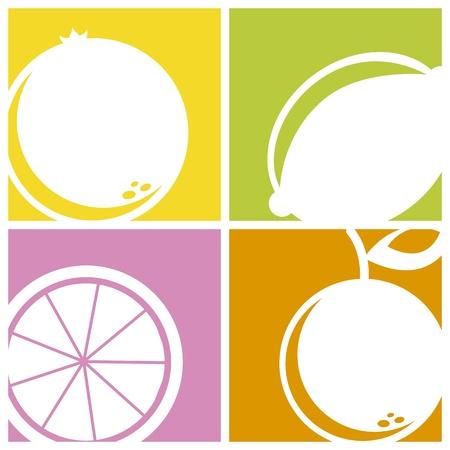 frutoso: �cones c�tricas mais pra�as fundo. ilustra��o vetorial Ilustração