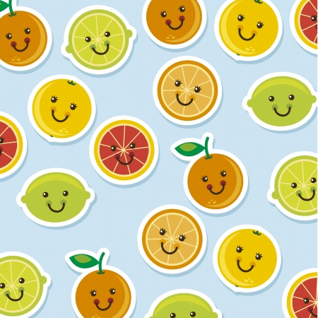 cute citrus icons cartoons over blue background. vector  Vector