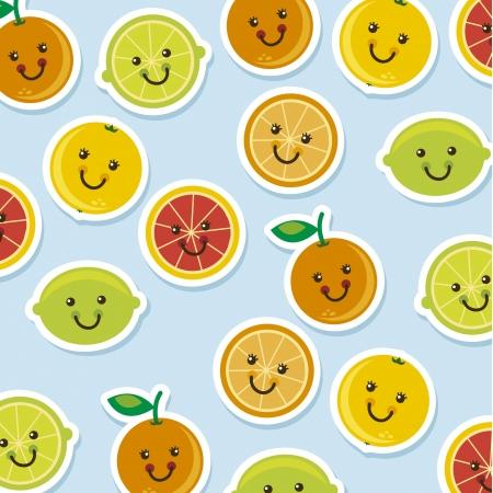 acid colors: cute citrus icons cartoons over blue background. vector  Illustration