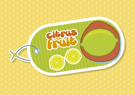 citrus fruit label over yellow background. vector illustration