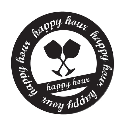 hour: Happy hour stamp over white background vector illustration