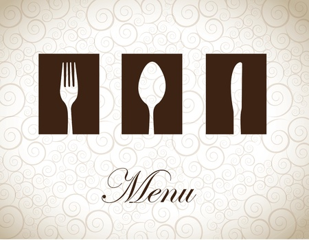 Brown and white cutlery over vintage background vector illustration Illustration