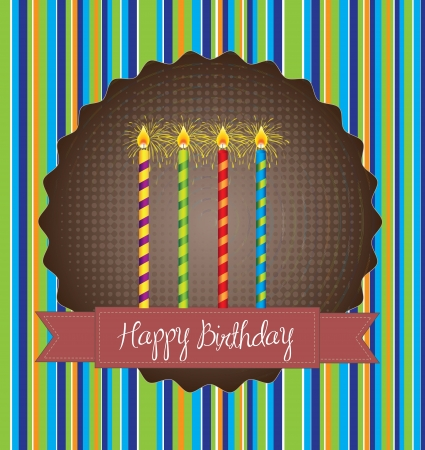 Happy Birthday card over lines background vector illustration Stock Vector - 17978831
