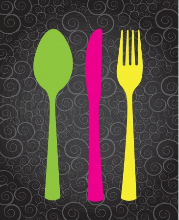 Pink,green and yellow cutlery over vintage background  Vector
