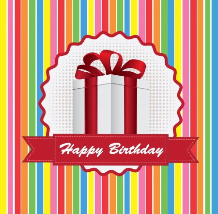 Happy Birthday card with a gift over lines background Stock Vector - 17978660