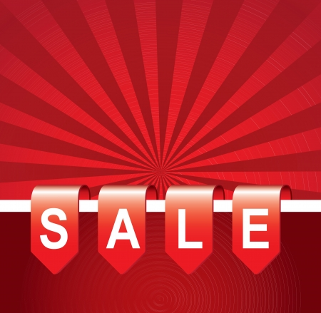 clearance sale: Sale tag over red line background vector illustration Illustration