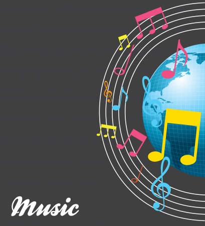 World and music over gray background vector illustration Vector