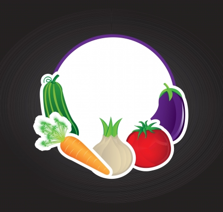 Different Vegetables over black background vector illustration Stock Vector - 17978925