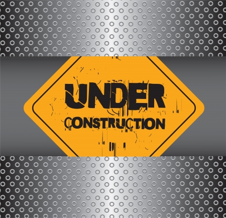 Under construction over chrome background Vector