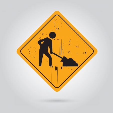 under construction sign with man: Working signal over gray background vector illustration
