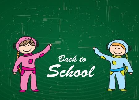 Children over blackboard background in signal of back to school  Vector