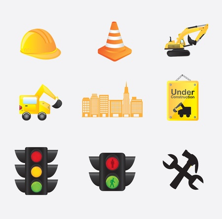 Construction icons over white background vector illustration Stock Vector - 17978798