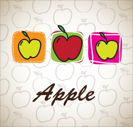 Health food with apple over white background vector illustration Stock Vector - 17978827